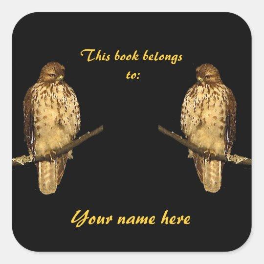 Red Tailed Hawk Bookplate Sticker