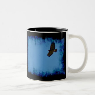 Red Tailed Hawk in Flight Blackground Two-Tone Coffee Mug