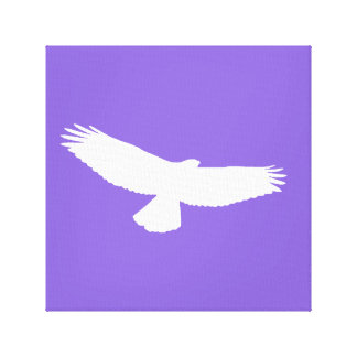 Red Tailed Hawk in Flight White Outline on Purple2 Canvas Print