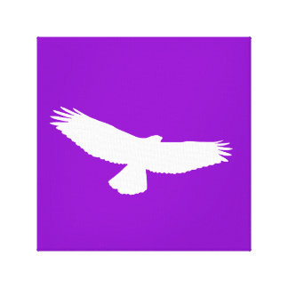 Red Tailed Hawk in Flight White Outline on Purple Canvas Print