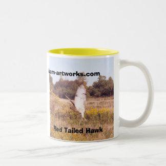 Red Tailed Hawk in takeoff, Two-Tone Coffee Mug