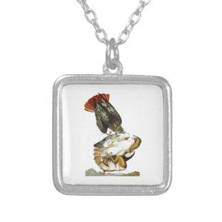 Red-tailed Hawk John James Audubon Birds America Square Pendant Necklace