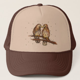 Red-Tailed Hawk Love Bird Snow Christmas Holiday Trucker Hat