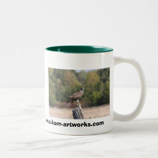 Red Tailed Hawk on fence post Two-Tone Coffee Mug