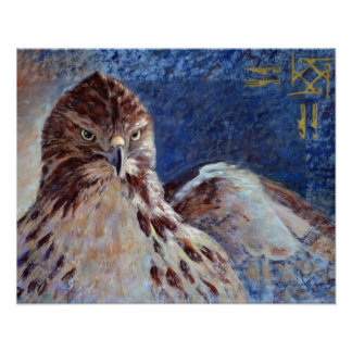 Red Tailed Hawk Pastel Painting Poster