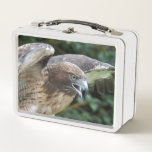 """Red-tailed Hawk Photo Metal Lunch Box<br><div class=""""desc"""">Take meals to work and school with this metal lunch box that features the photo image of a fierce looking Red-tailed Hawk with. If desired,  you may change the color of your lunch box. To see other products we have to offer,  click on the Northwestphotos store link.</div>"""