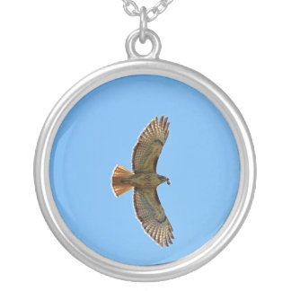 Red-Tailed Hawk Photo Silver Plated Necklace