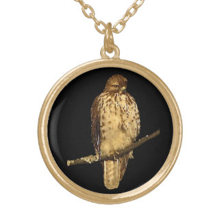 Red Tailed Hawk Round Pendant Necklace