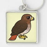 Red-tailed Hawk Silver-Colored Square Keychain