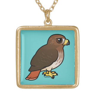 Red-tailed Hawk Square Pendant Necklace
