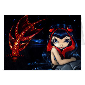 """""""Red Tailed Mermaid"""" Greeting Card"""