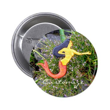 Beach Themed red tailed sirena mermaid back to school button