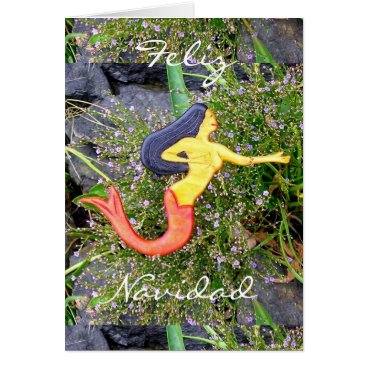 Beach Themed red-tailed sirena mermaid Feliz Navidad Card