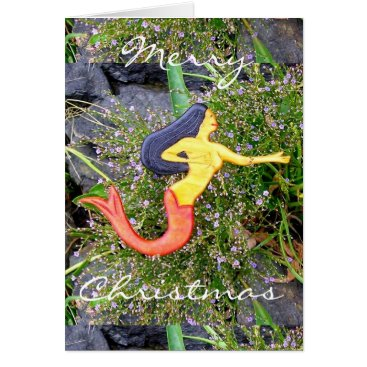 Beach Themed red-tailed sirena mermaid Merry Christmas Card