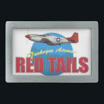 """Red Tails Tuskegee Airmen with P-51 Belt Buckle<br><div class=""""desc"""">A P-51D Mustang from the 99th Fighter Squadron, 332nd Fighter Group. The Red Tails, flown by the Tuskegee Airmen had incredibly low bomber losses, and were praised by their crews, who were grateful for their dedicated protection. Tuskegee Airmen were true heroes of WWII, proving themselves well before they entered combat....</div>"""