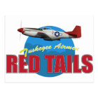 Red Tails Tuskegee Airmen with P-51 Postcard