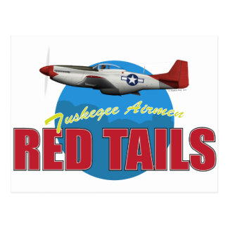 Red Tails Tuskegee Airmen with P-51 Post Card
