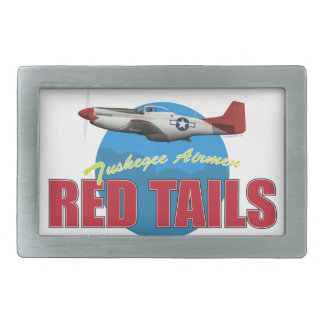 Red Tails Tuskegee Airmen with P-51 Rectangular Belt Buckles