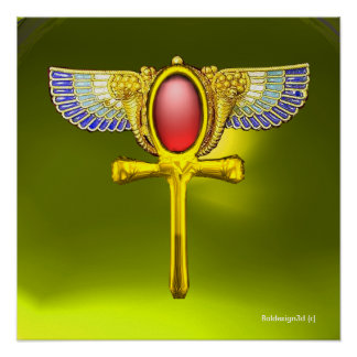 RED TALISMAN/ EGYPTIAN WINGED ANKH AND CORNUCOPIA POSTER