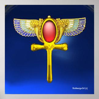 RED TALISMAN/EGYPTIAN WINGED ANKH,CORNUCOPIA Blue Poster