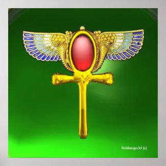 RED TALISMAN/EGYPTIAN WINGED ANKH,CORNUCOPIA Green Poster