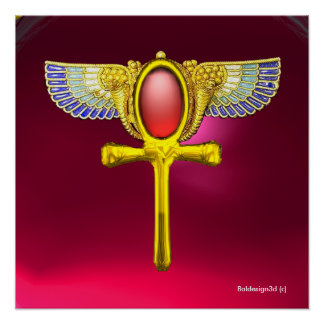 RED TALISMAN/ EGYPTIAN WINGED ANKH WITH CORNUCOPIA POSTER