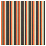 [ Thumbnail: Red, Tan, and Black Pattern of Stripes Fabric ]