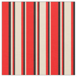 [ Thumbnail: Red, Tan, and Black Striped/Lined Pattern Fabric ]