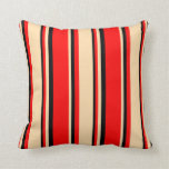 [ Thumbnail: Red, Tan, and Black Striped/Lined Pattern Pillow ]