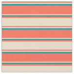 [ Thumbnail: Red, Tan, and Dark Cyan Lined/Striped Pattern Fabric ]