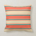 [ Thumbnail: Red, Tan, and Dark Cyan Lined/Striped Pattern Throw Pillow ]