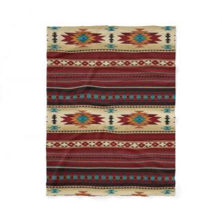 RED/TAN Aztec Print Fleece Blanket