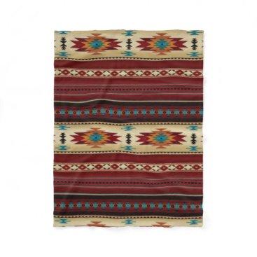 Aztec Themed RED/TAN Aztec Print Fleece Blanket
