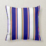 [ Thumbnail: Red, Tan, Blue, White & Sea Green Striped Pattern Throw Pillow ]
