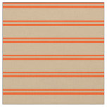 [ Thumbnail: Red & Tan Colored Lined Pattern Fabric ]