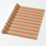 [ Thumbnail: Red & Tan Colored Lined Pattern Wrapping Paper ]