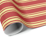 [ Thumbnail: Red & Tan Colored Stripes Wrapping Paper ]