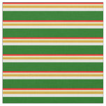 [ Thumbnail: Red, Tan, Goldenrod, White, and Dark Green Lines Fabric ]