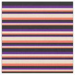[ Thumbnail: Red, Tan, Indigo & Black Colored Lines Fabric ]