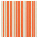 [ Thumbnail: Red & Tan Lined Pattern Fabric ]