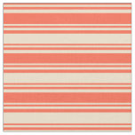 [ Thumbnail: Red & Tan Lines Fabric ]