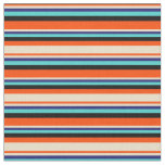 [ Thumbnail: Red, Tan, Midnight Blue, Turquoise & Black Lines Fabric ]