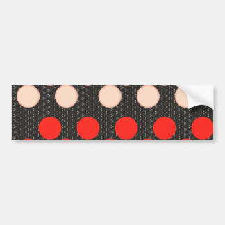 Red Tan Polka Dot Circles Black Pattern Gifts Bumper Sticker