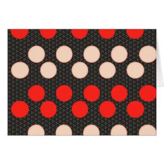 Red Tan Polka Dot Circles Black Pattern Gifts Greeting Card