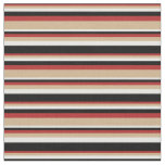 [ Thumbnail: Red, Tan, White & Black Colored Lines Fabric ]