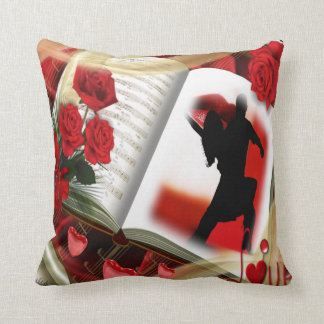 Red Tango Dancers and Red Roses on Soft Cushion