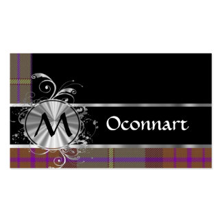 Red tartan and monogram business card
