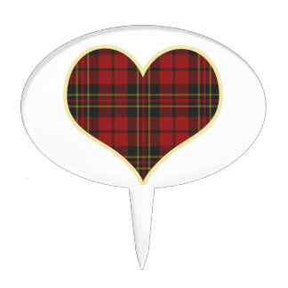 Red Tartan Heart Cake Toppers