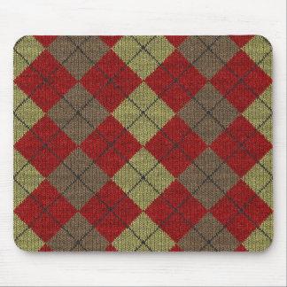 red tartan knitwork pattern mouse pad