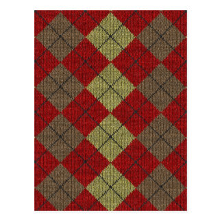 red tartan knitwork pattern postcard